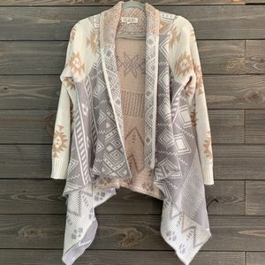 Pink Republic Aztec Print Waterfall Cardigan